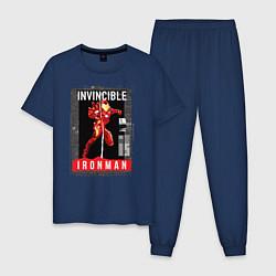 Пижама хлопковая мужская Invincible Iron Man цвета тёмно-синий — фото 1