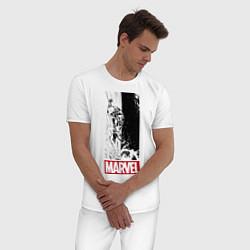 Пижама хлопковая мужская Iron Man: Marvel цвета белый — фото 2