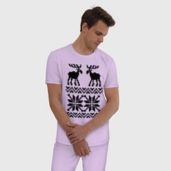 Пижама хлопковая мужская Узор с оленями цвета лаванда — фото 2