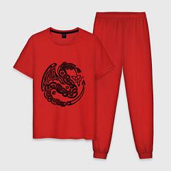 Пижама хлопковая мужская Кельтский дракон цвета красный — фото 1