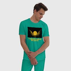 Пижама хлопковая мужская TWENTY ONE PILOTS TOP цвета зеленый — фото 2