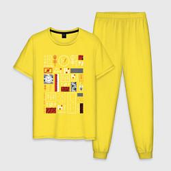 Пижама хлопковая мужская TWENTY ONE PILOTS TOP цвета желтый — фото 1