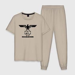 Пижама хлопковая мужская Rammstein Eagle цвета миндальный — фото 1