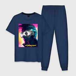 Пижама хлопковая мужская Cyberpunk 2077 цвета тёмно-синий — фото 1