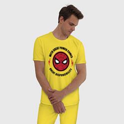 Пижама хлопковая мужская Spider-Man цвета желтый — фото 2