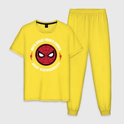 Пижама хлопковая мужская Spider-Man цвета желтый — фото 1