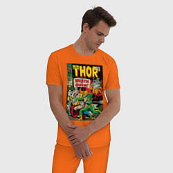 Пижама хлопковая мужская Thor vs Loki цвета оранжевый — фото 2