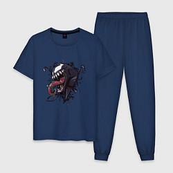 Пижама хлопковая мужская Venom цвета тёмно-синий — фото 1