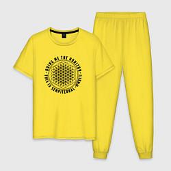 Пижама хлопковая мужская BRING ME THE HORIZON цвета желтый — фото 1