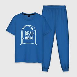 Пижама хлопковая мужская Dead inside цвета синий — фото 1