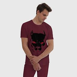 Пижама хлопковая мужская Старфорширдский терьер цвета меланж-бордовый — фото 2