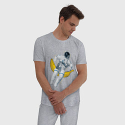 Пижама хлопковая мужская Космонавт на банане цвета меланж — фото 2