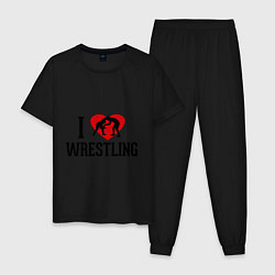 Пижама хлопковая мужская I love wrestling цвета черный — фото 1