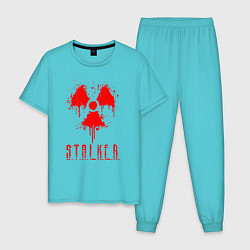 Пижама хлопковая мужская S T A L K E R 2 цвета бирюзовый — фото 1