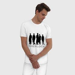 Пижама хлопковая мужская Sherlock Band цвета белый — фото 2