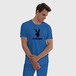 Пижама хлопковая мужская Billie Eilish: SAD BUNNY цвета синий — фото 2