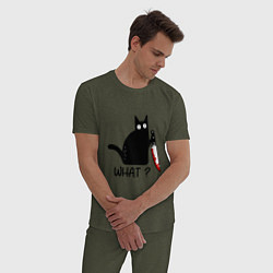 Пижама хлопковая мужская What cat цвета меланж-хаки — фото 2