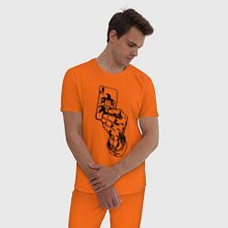 Пижама хлопковая мужская Joker Playing Card цвета оранжевый — фото 2