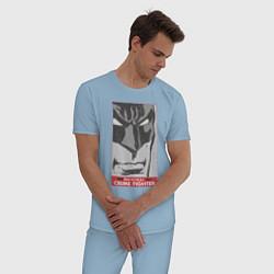 Пижама хлопковая мужская Crime Fighter цвета мягкое небо — фото 2