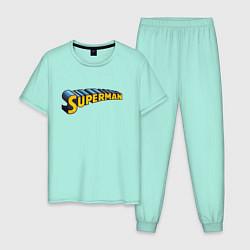 Пижама хлопковая мужская Superman цвета мятный — фото 1