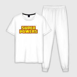 Пижама хлопковая мужская Super Powers цвета белый — фото 1