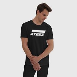 Пижама хлопковая мужская Ateez цвета черный — фото 2