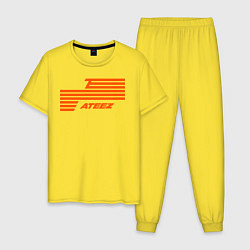 Пижама хлопковая мужская Ateez цвета желтый — фото 1