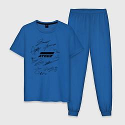 Пижама хлопковая мужская Ateez автографы цвета синий — фото 1
