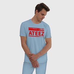Пижама хлопковая мужская Ateez цвета мягкое небо — фото 2