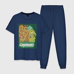 Пижама хлопковая мужская Время приключений Jake цвета тёмно-синий — фото 1