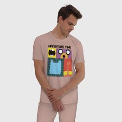 Пижама хлопковая мужская Время приключений цвета пыльно-розовый — фото 2