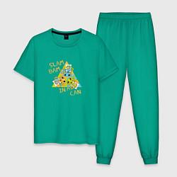 Пижама хлопковая мужская Slam Bam in a Can цвета зеленый — фото 1