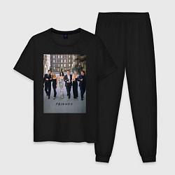 Пижама хлопковая мужская Friends цвета черный — фото 1