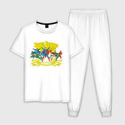 Пижама хлопковая мужская Super Friends, Justice League цвета белый — фото 1