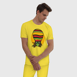 Пижама хлопковая мужская Пришелец Регги цвета желтый — фото 2