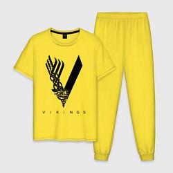 Пижама хлопковая мужская VIKINGS цвета желтый — фото 1