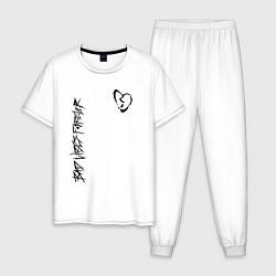 Пижама хлопковая мужская BAD VIBES FOREVER цвета белый — фото 1