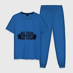 Пижама хлопковая мужская No pain, no gain цвета синий — фото 1