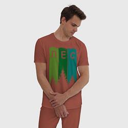 Пижама хлопковая мужская Люблю лес цвета кирпичный — фото 2