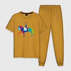Пижама хлопковая мужская Всадник на коне цвета горчичный — фото 1
