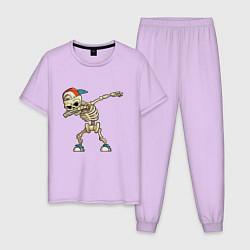 Пижама хлопковая мужская Dab Skeleton цвета лаванда — фото 1