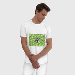 Пижама хлопковая мужская Игуана нежить цвета белый — фото 2
