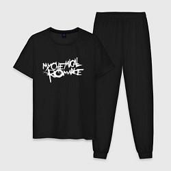 Пижама хлопковая мужская My Chemical Romance spider на спине цвета черный — фото 1