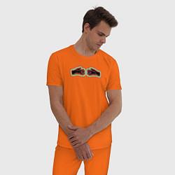Пижама хлопковая мужская Black mask club цвета оранжевый — фото 2