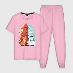 Пижама хлопковая мужская Лисички Осень Зима цвета светло-розовый — фото 1