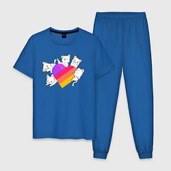 Пижама хлопковая мужская Котики Likee цвета синий — фото 1