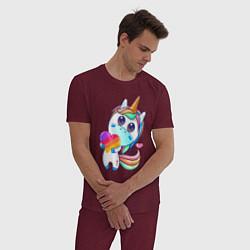 Пижама хлопковая мужская Единорог Likee цвета меланж-бордовый — фото 2