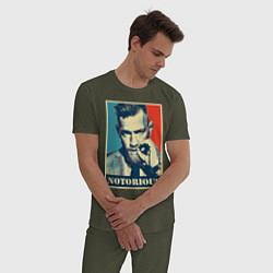 Пижама хлопковая мужская Notorious цвета меланж-хаки — фото 2