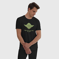 Пижама хлопковая мужская Judge me by my size цвета черный — фото 2