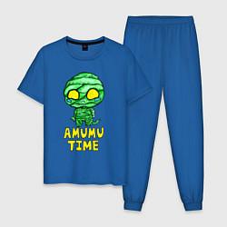 Пижама хлопковая мужская Амуму цвета синий — фото 1
